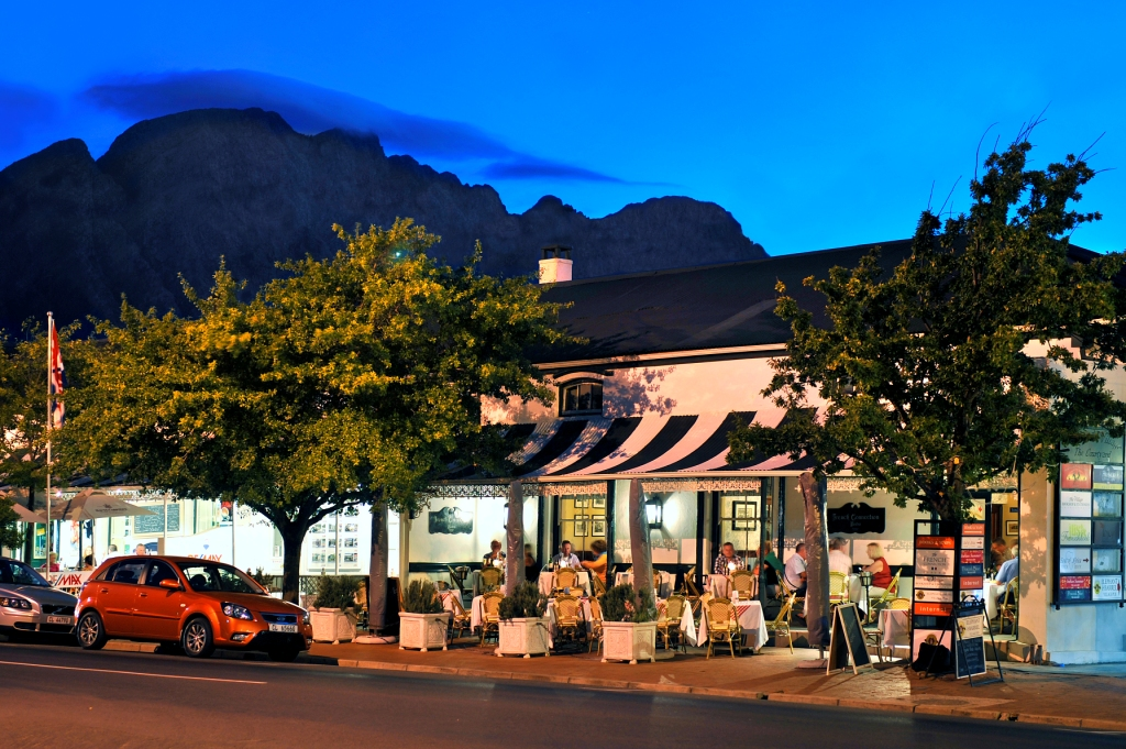 Franschhoek main road in the evening