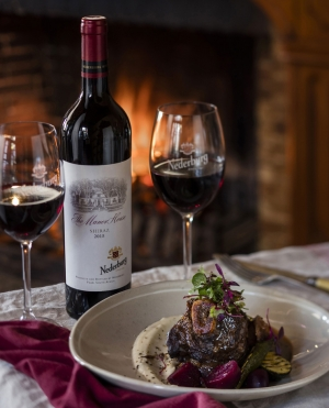 Kudu shank main course with Nederburg MH Shiraz
